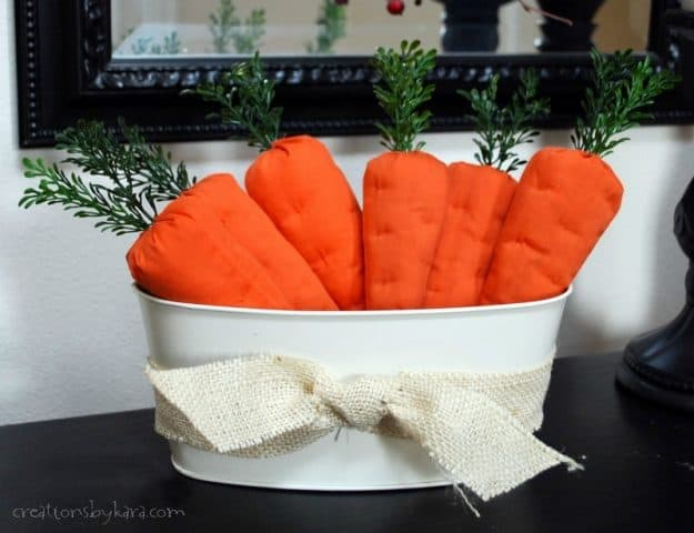 How to sew fabric carrots for Easter. A fun Easter project.