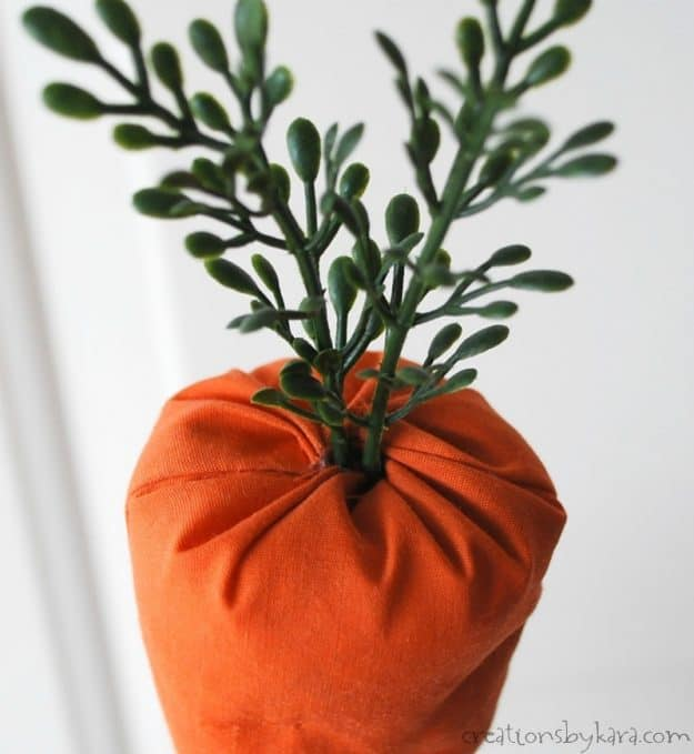 fabric carrots with greenery