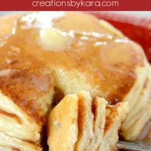cut buttermilk pancakes on a fork