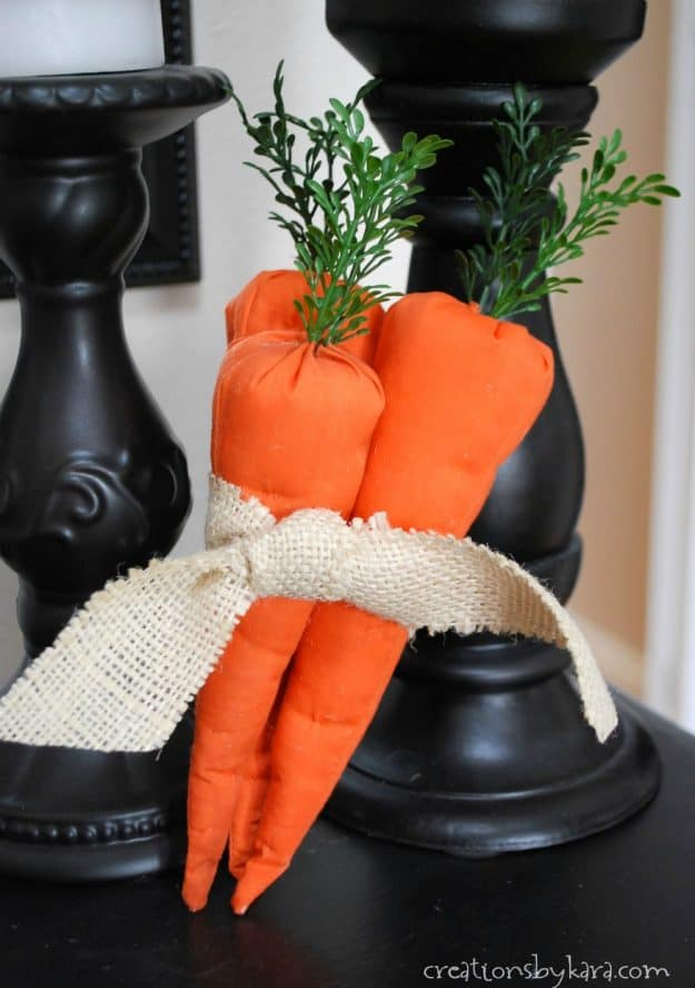 How to sew fabric carrots. Great Easter decor project!