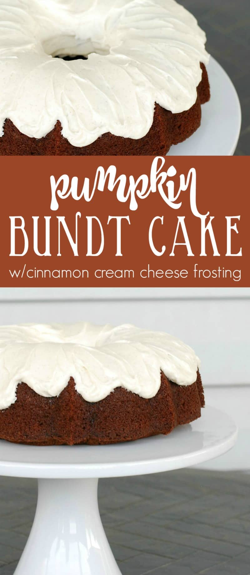 Pumpkin cake with cinnamon cream cheese frosting. The best pumpkin cake ever! Everyone raves about this pumpkin cake recipe.