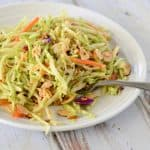 You have got to try this Oriental Broccoli Slaw. It is one of my favorites, and a tasty way to get a couple servings of veggies. We love it!