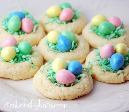 These cute little Easter Nest Cookies are sure to be a hit! Fill them with your favorite candy!