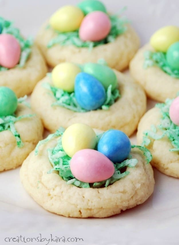 Easter Egg Nest Cookies- tender cream cheese cookies filled with chocolate eggs. A fun and yummy recipe for Easter!