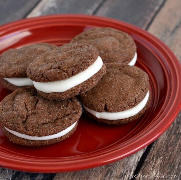 plate of homemade oreo cookies