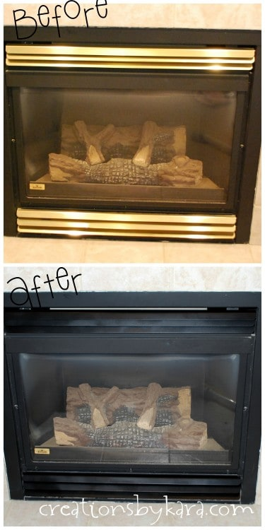 How to make over a brass fireplace using black spray paint. A fast and easy DIY project!