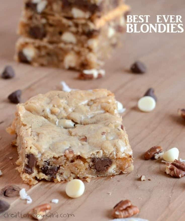 Best Ever Chocolate Chip Blondies {Congo Bars}