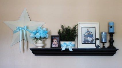 Living room decorating shelves