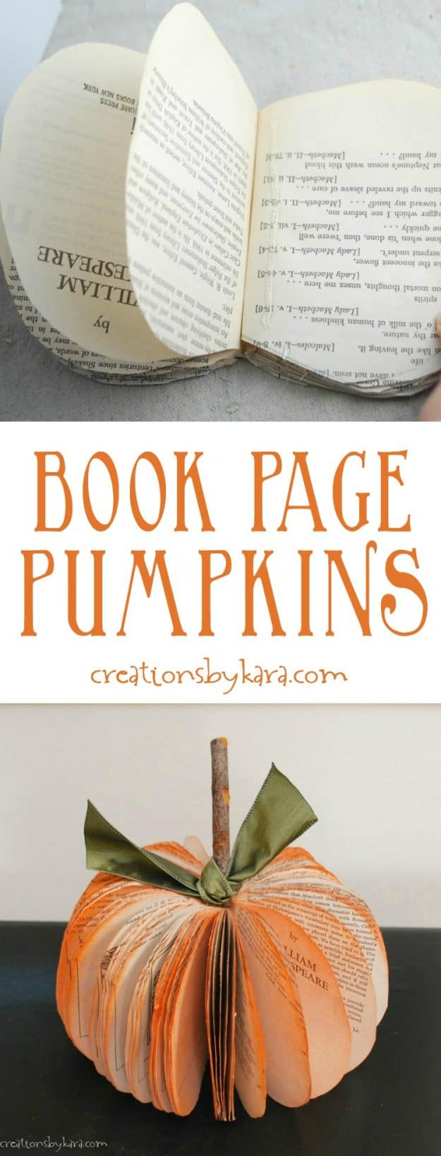book page pumpkin tutorial collage