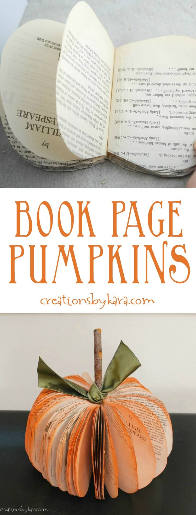 These Book Page Pumpkins are easy to make, and make such cute fall decor! Transform an old book into a darling paper pumpkin. A simple fall craft idea.