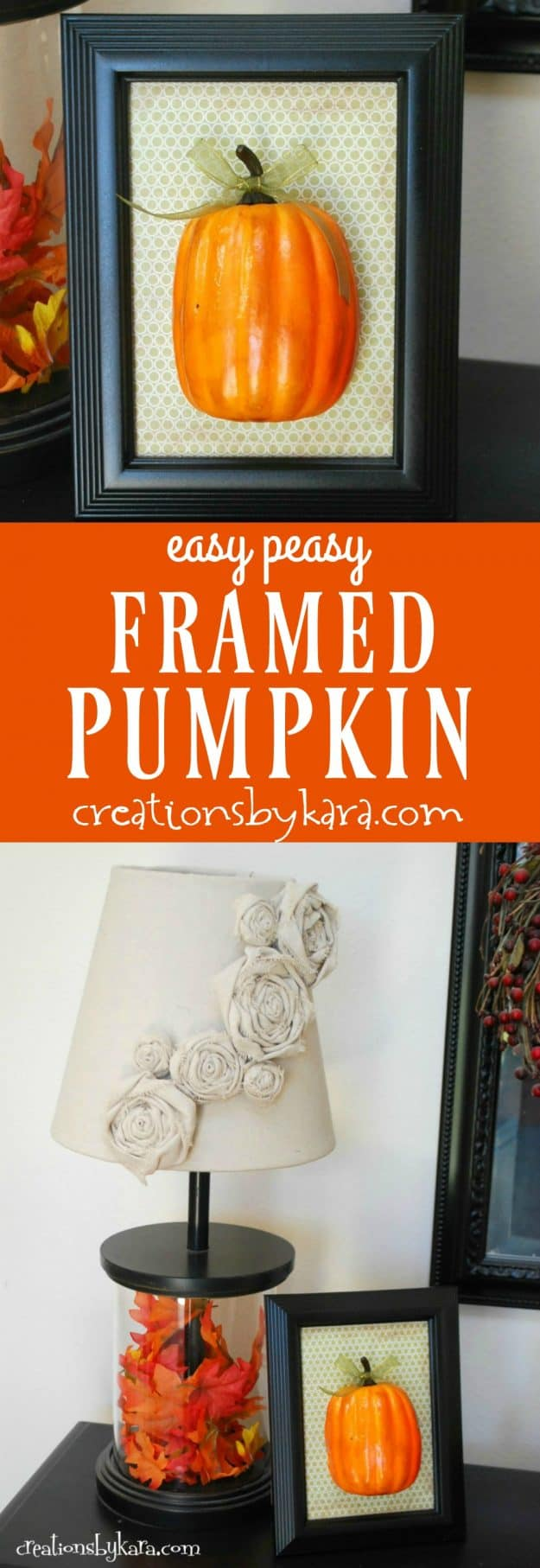 This framed pumpkin takes only minutes to make. A simple and fun fall decoration!