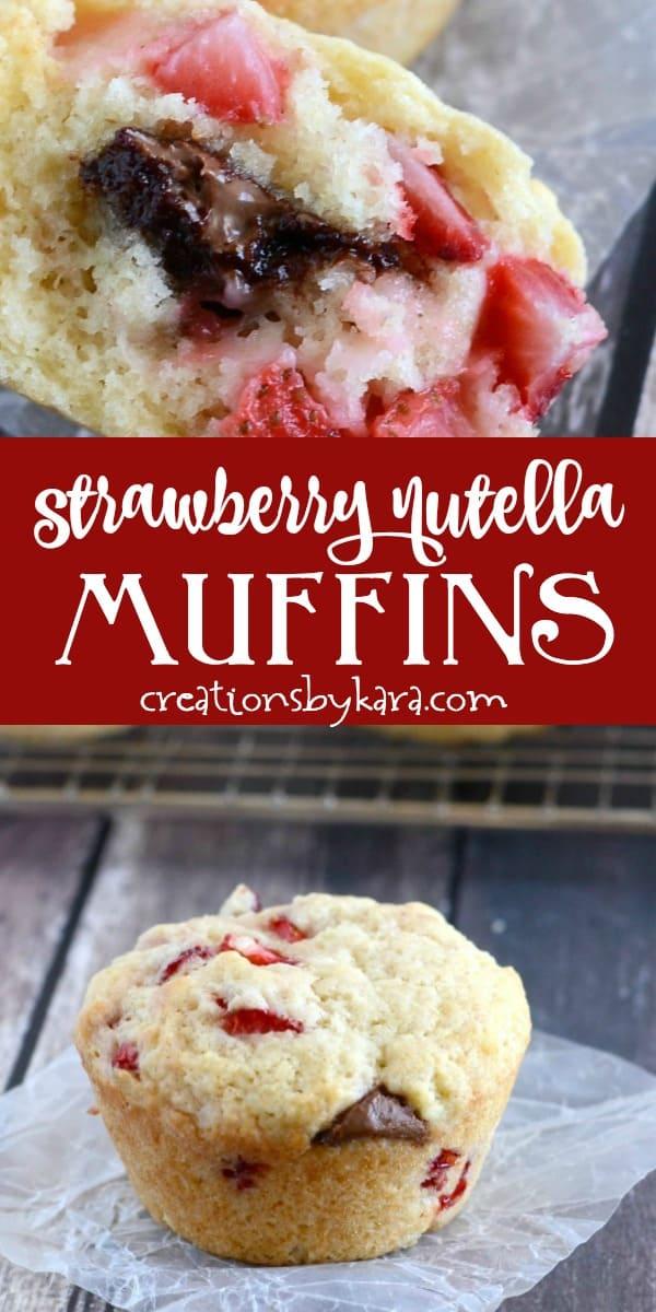 strawberry nutella muffins recipe collage