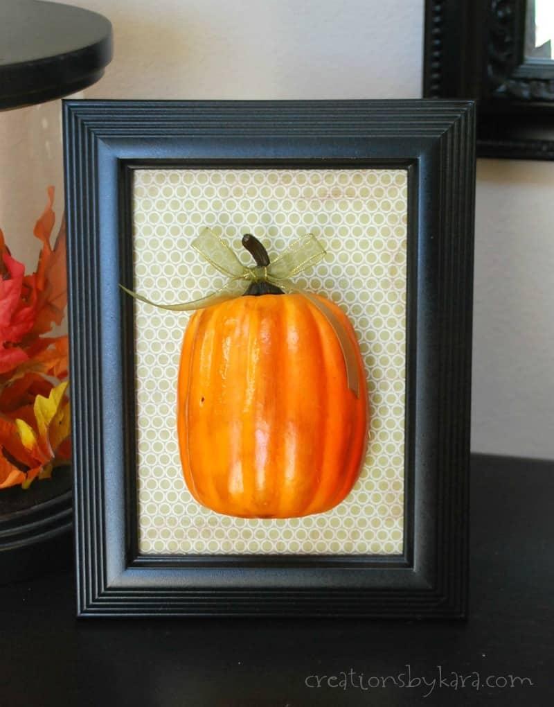 Fall Home Decor-- Easy Framed Pumpkin