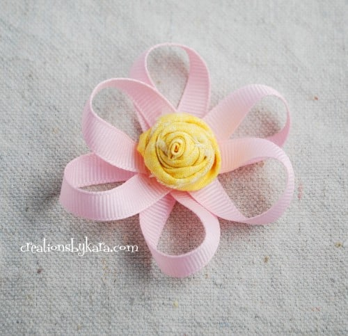 loopy ribbon flower with fabric flower center