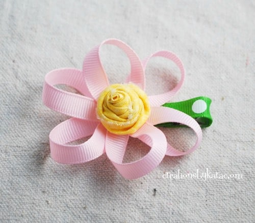 ribbon flower on hair clip