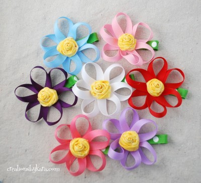 ribbon-flower-hair-clip, tutorial