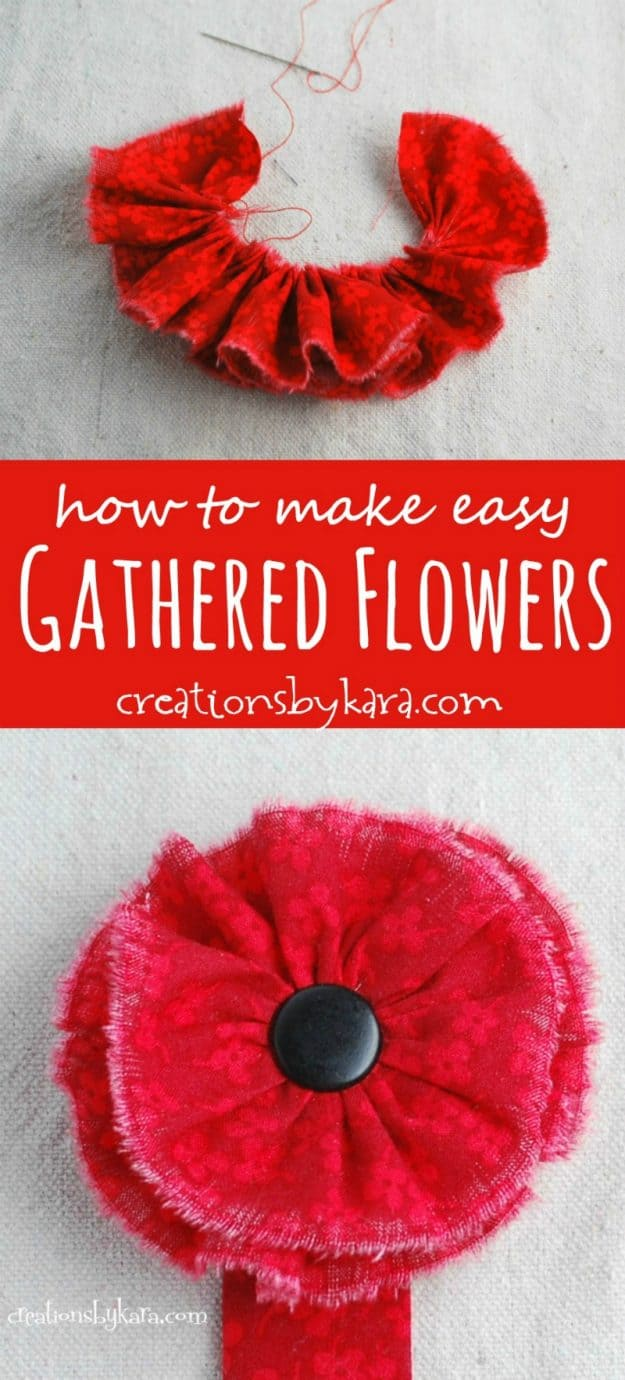 Easy Gathered Flowers Tutorial
