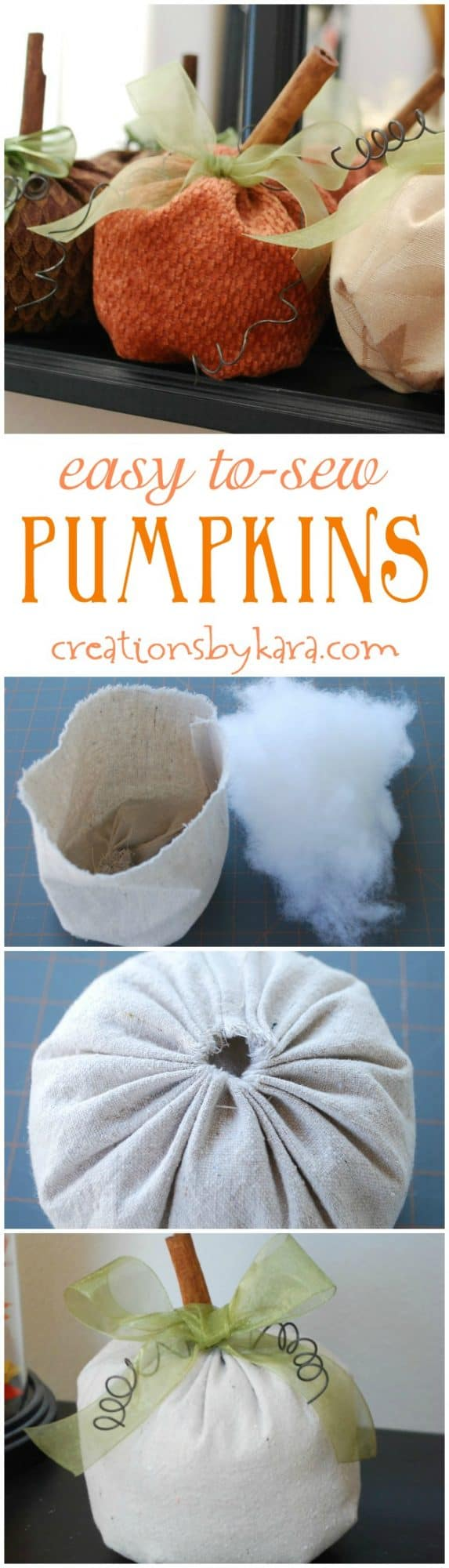 These easy to sew pumpkins can be whipped up in under an hour!