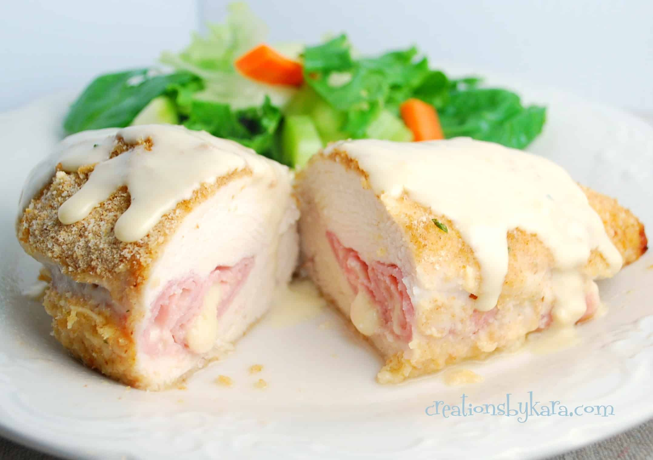 Chicken Cordon Bleu Bread Bowls - Creations by Kara