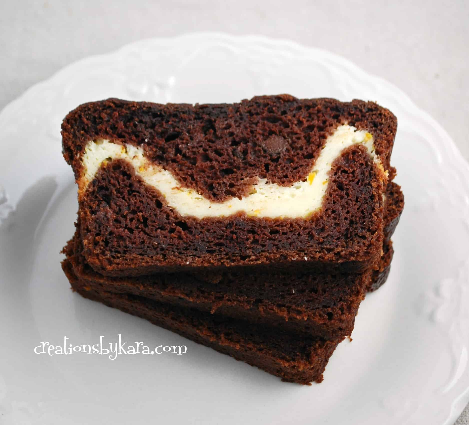 cream cheese chocolate zucchini bread 002 - Creations by Kara