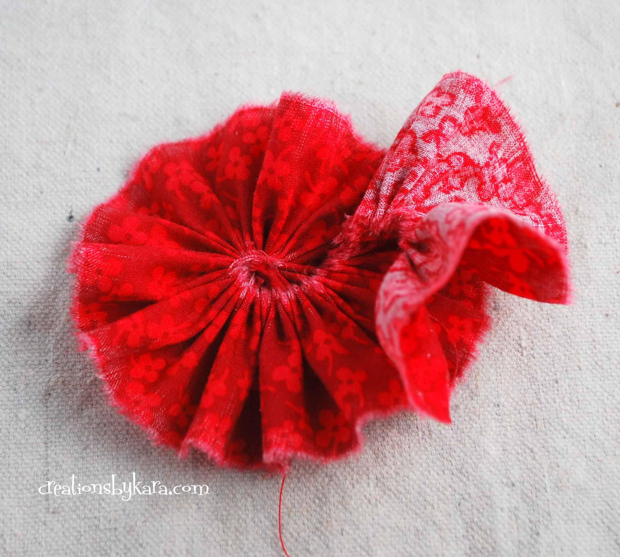 Gathered fabric flower tutorial 005 creations by kara