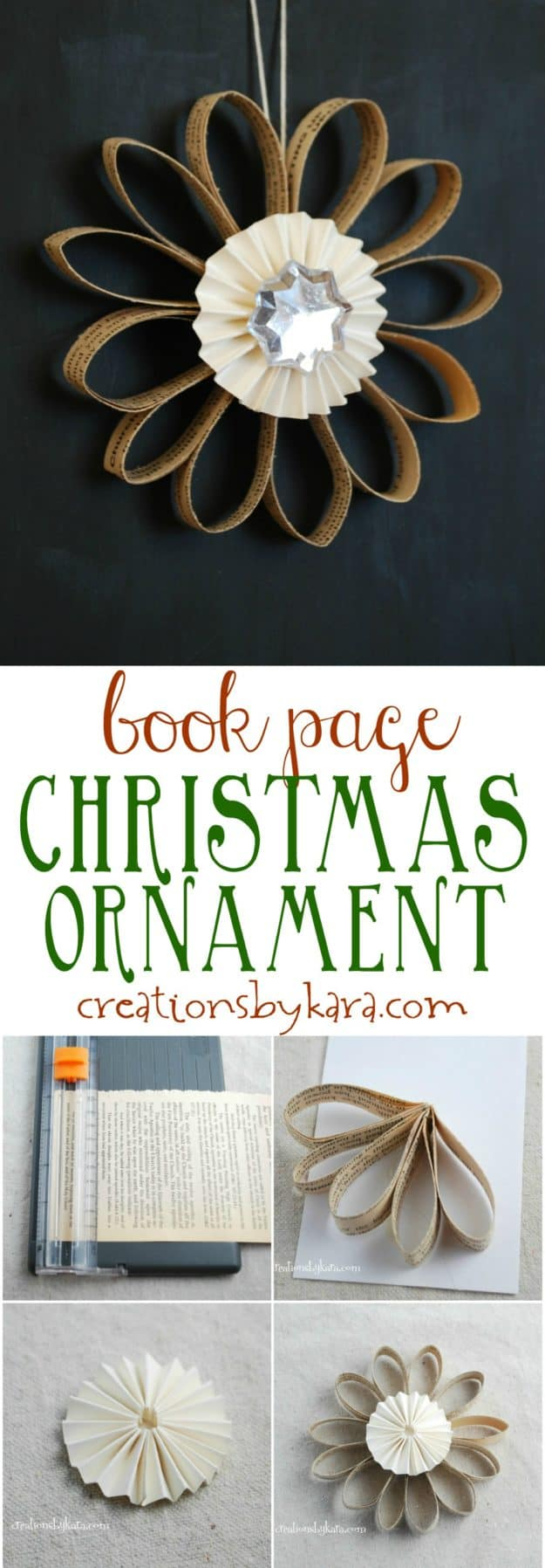 Book Page Christmas Ornament - whip up a whole set of these vintage tree ornaments in an afternoon. They look so pretty on the Christmas tree!