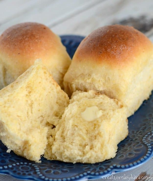 Homemade cornmeal rolls