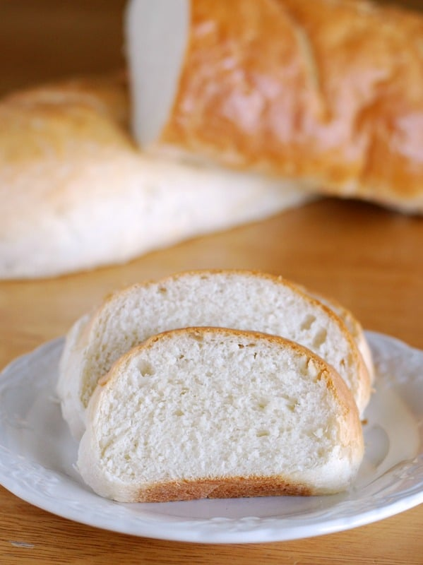 slices of french bread on a plate