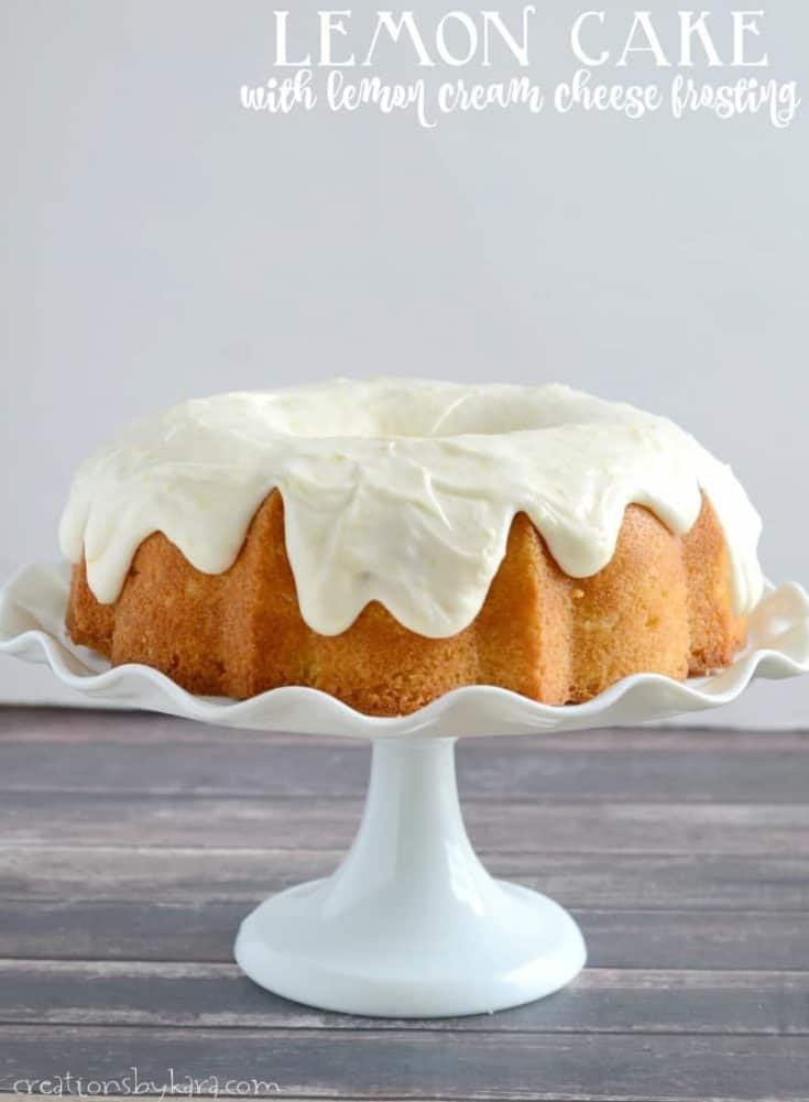 Lemon Bundt Cake with lemon cream cheese frosting. A perfect cake for lemon lovers.