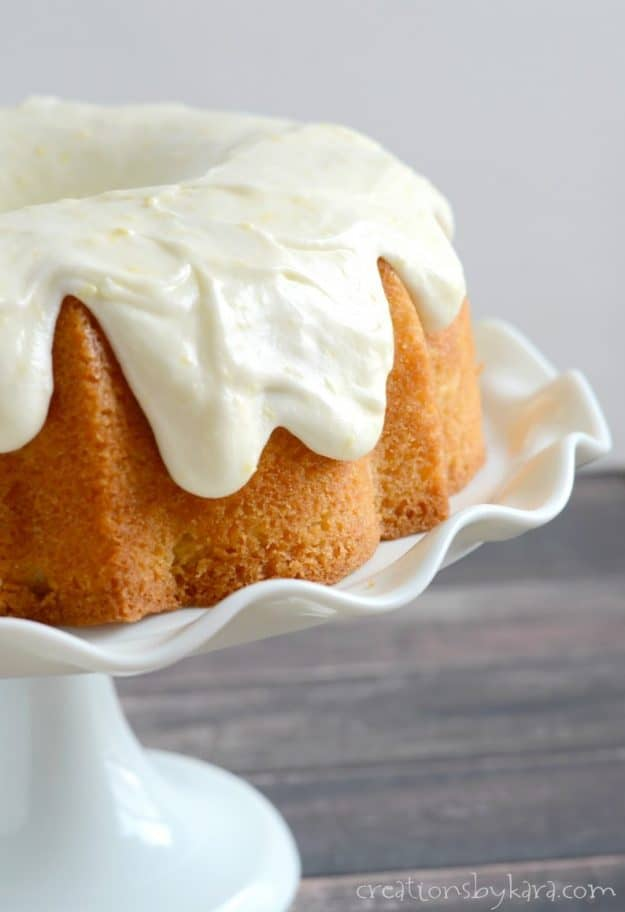 The best lemon bundt cake with out of this world lemon frosting.