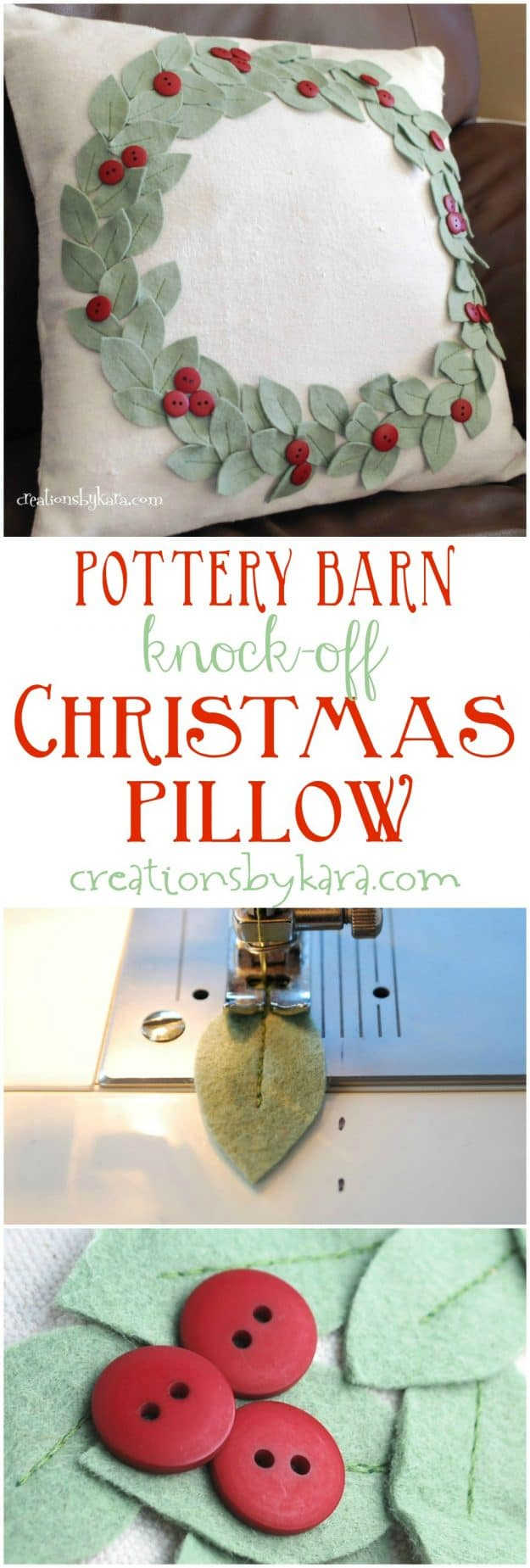 pottery barn knockoff pillow for christmas