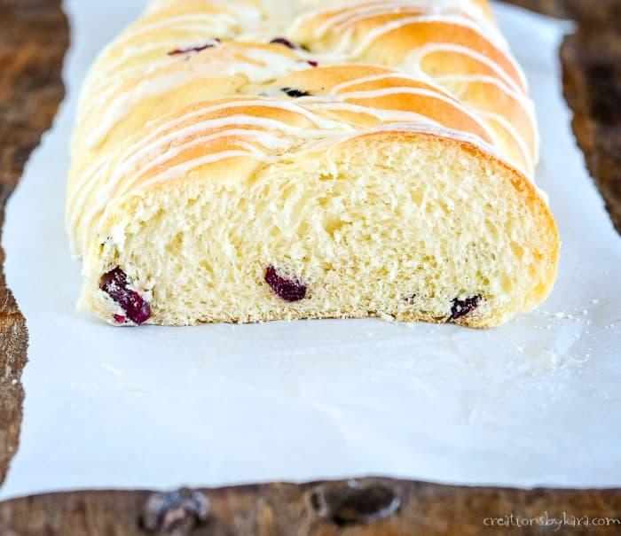 cut loaf of cranberry eggnog yeast bread