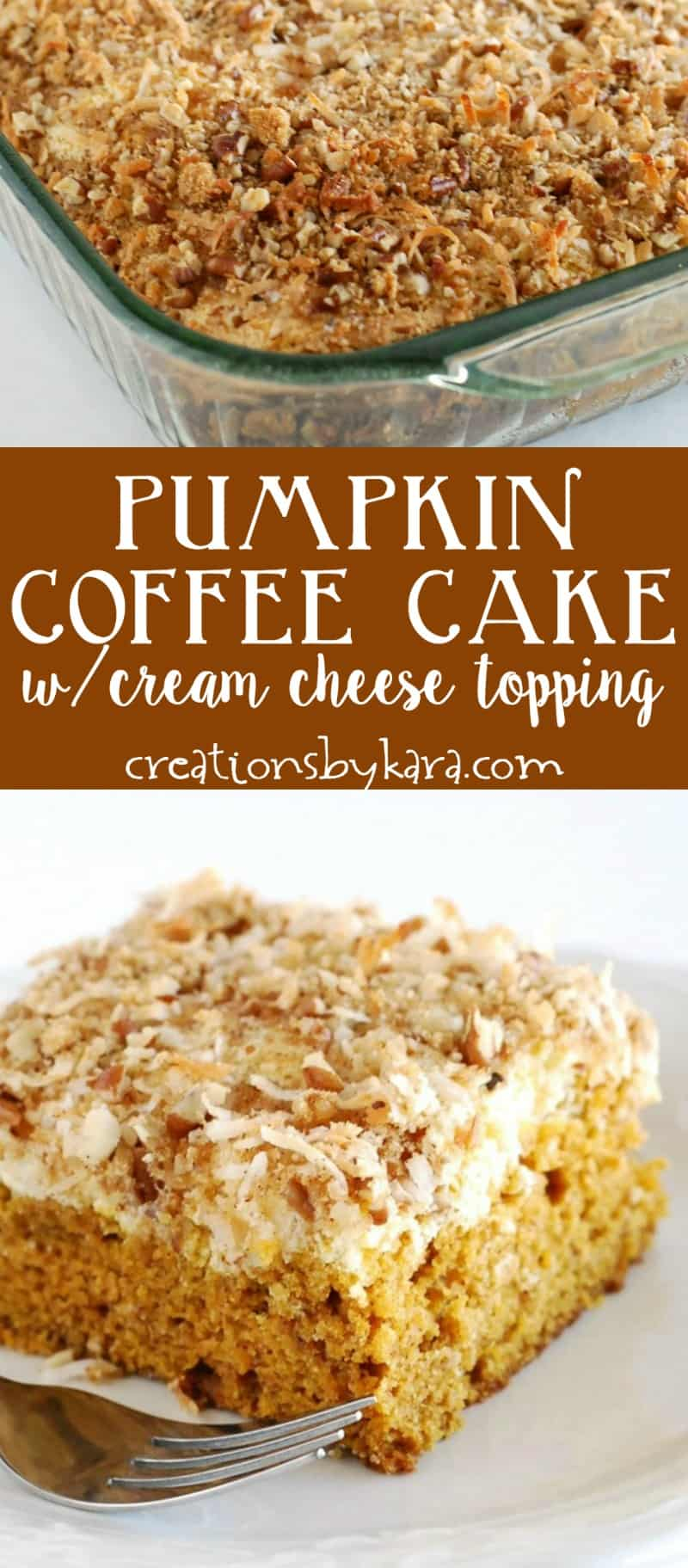 Pumpkin Coffee Cake with a cream cheese filling and crunchy topping. Simply delicious! #coffeecake #pumpkin