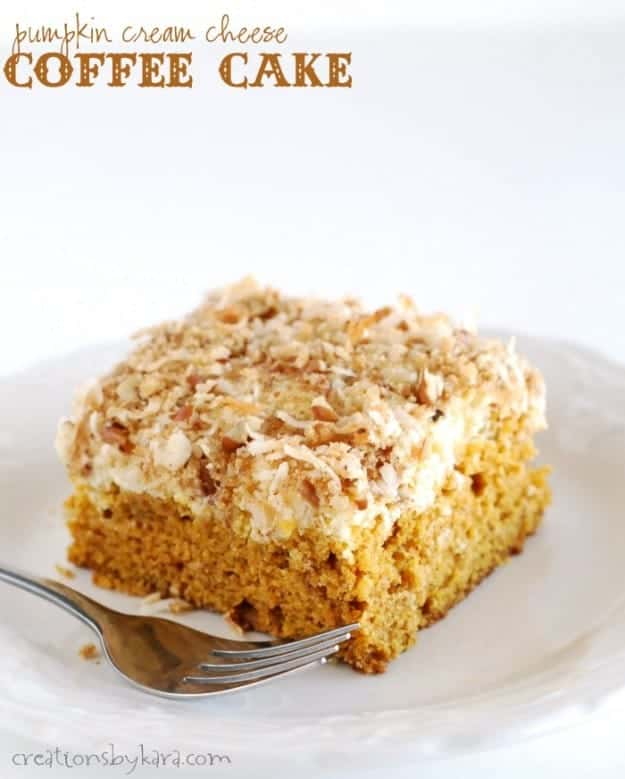 Pumpkin Coffee Cake with a cream cheese topping. Delicious!