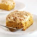 This Pumpkin Cream Cheese Coffee Cake is perfect for fall brunch, breakfast, or even dessert!