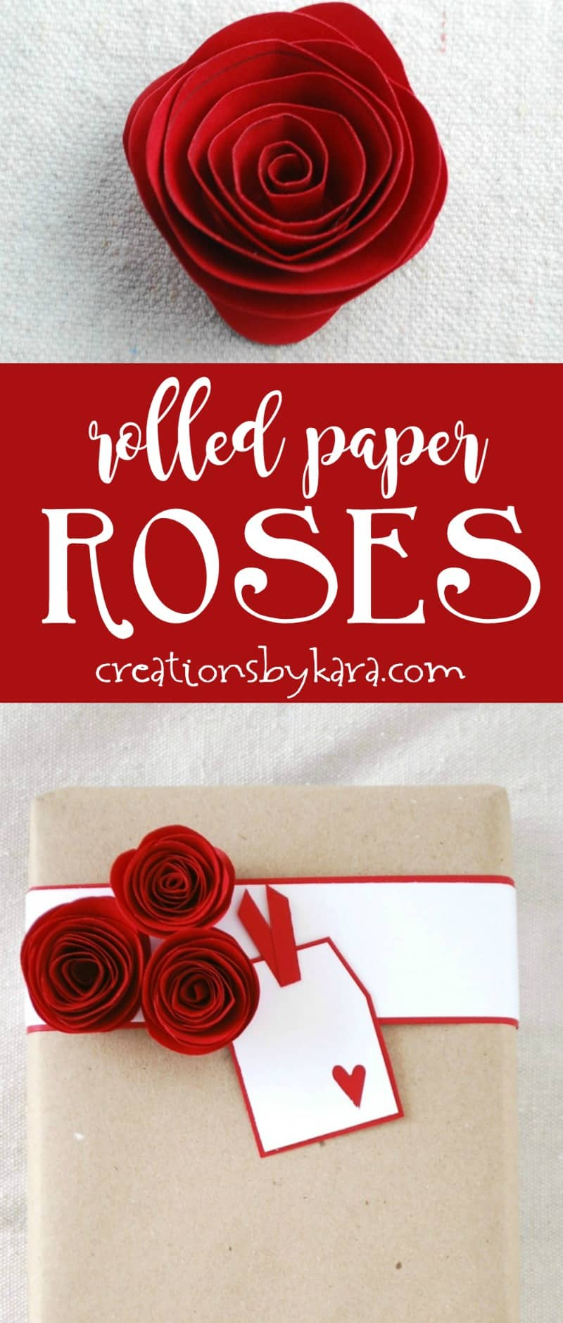 How to make Beautiful Rolled Paper Roses - use them for craft projects, decor, or gift wrap. So fun to make! #papercrafting #tutorial #paperflowers
