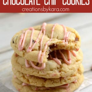 candy cane kiss chocolate chip cookies collage