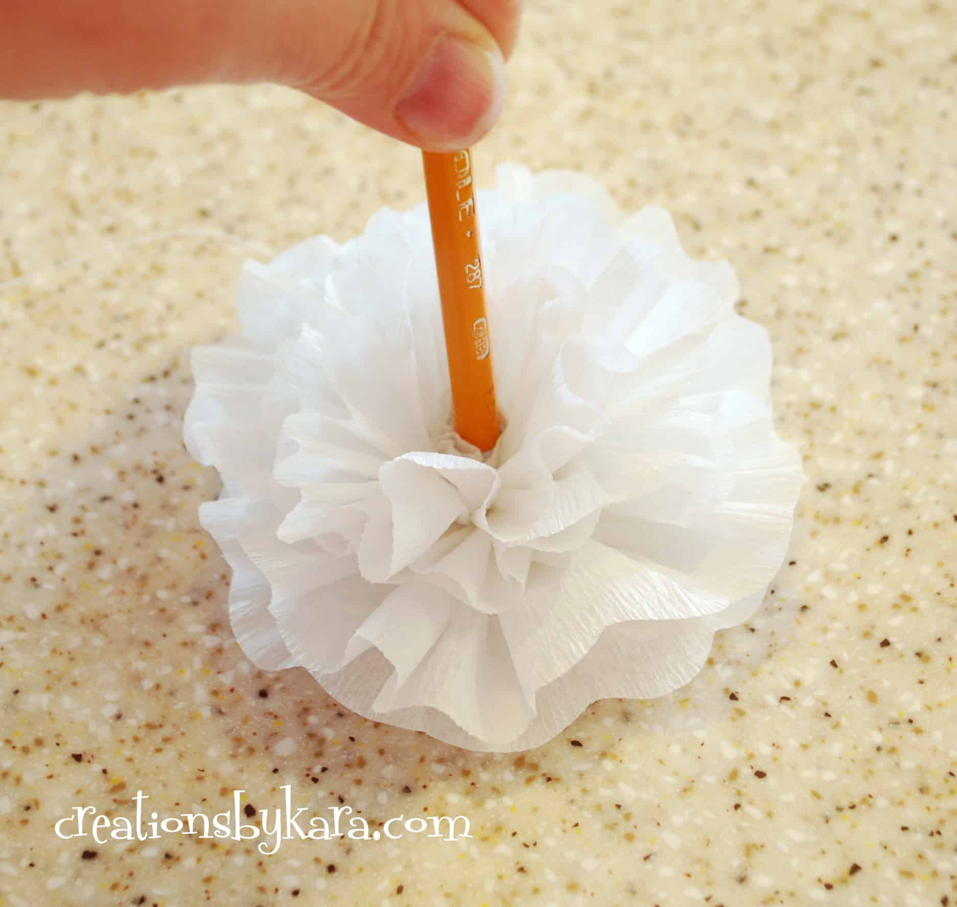 Crepe paper flower tutorial 020 creations by kara for Crepe paper wall flowers