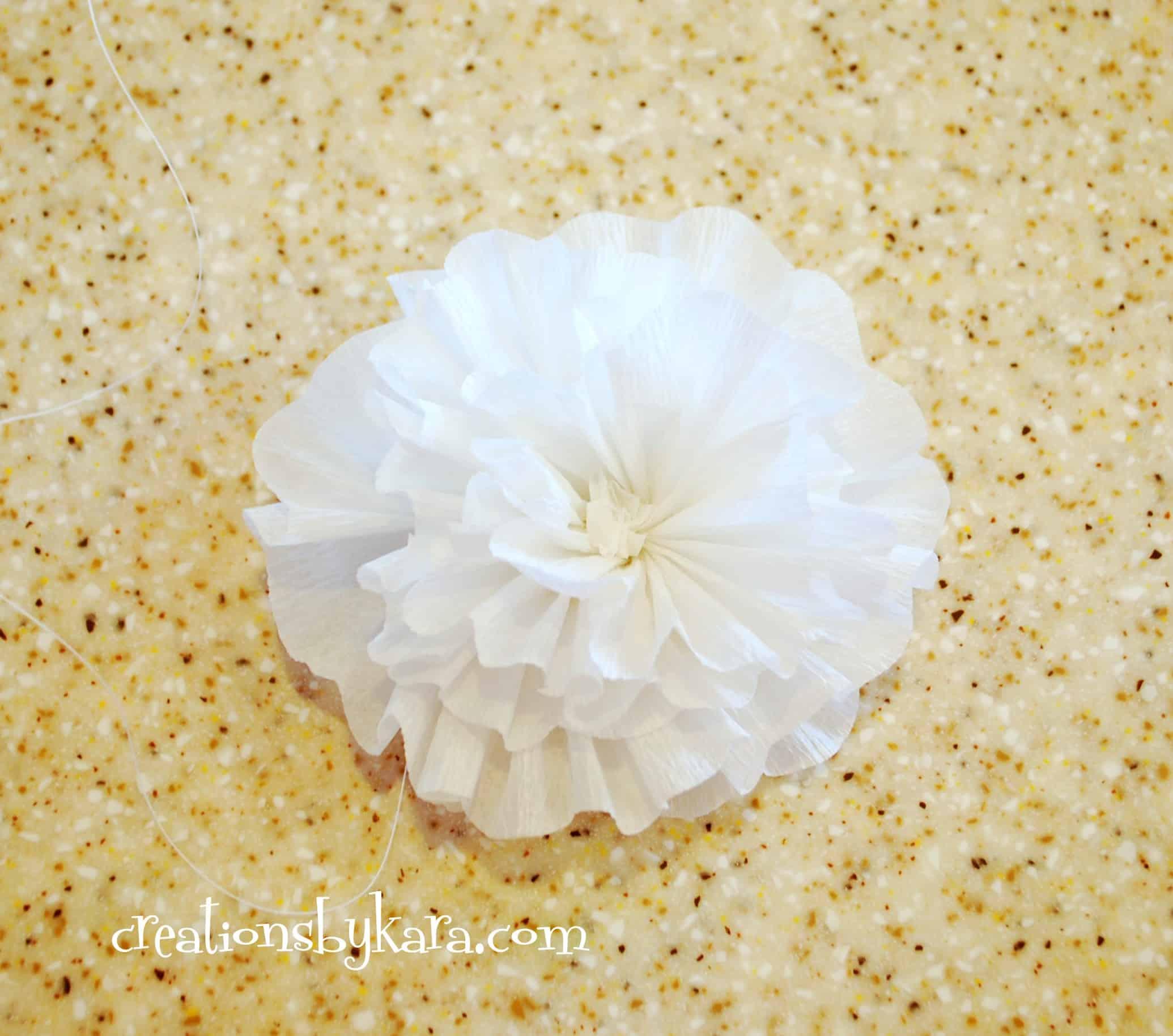 crepe paper flower tutorial 027 Creations by Kara