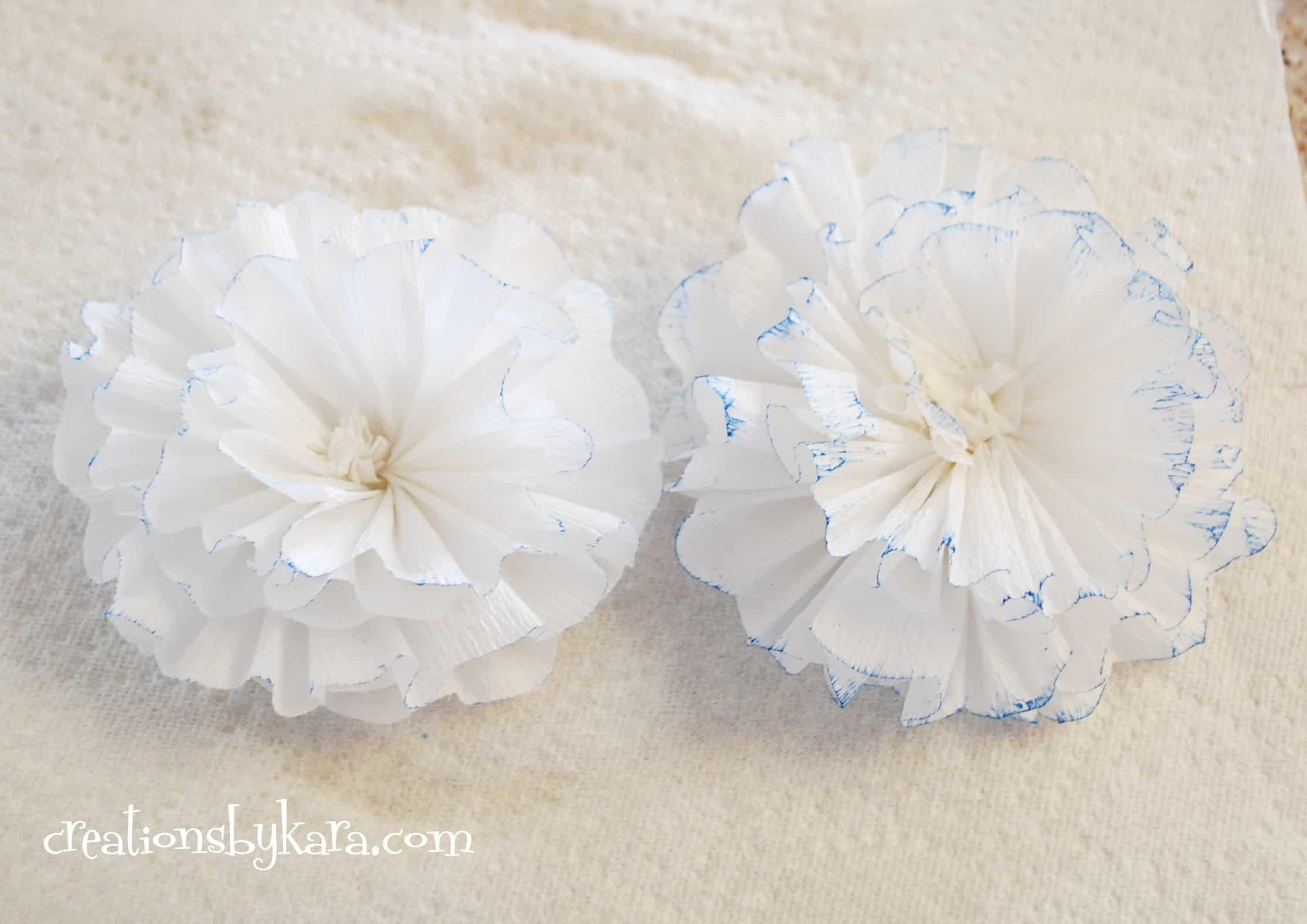 Crepe paper flower tutorial 033 creations by kara for Crepe paper wall flowers