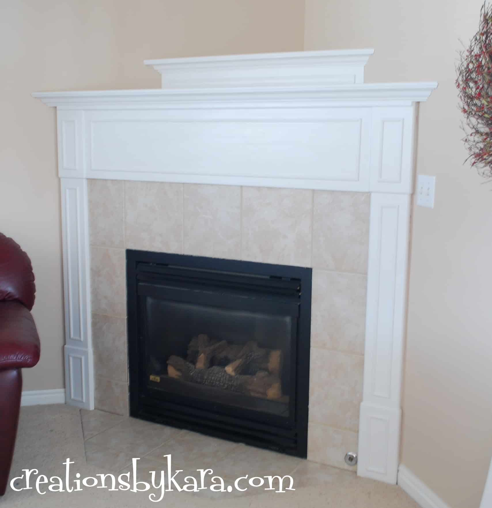 Painted Oak Fireplace Mantel