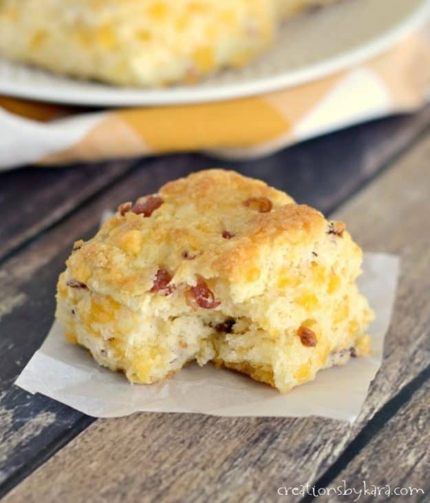 Bacon cheese biscuits are a great side to any meal, but they are especially yummy served with soup!
