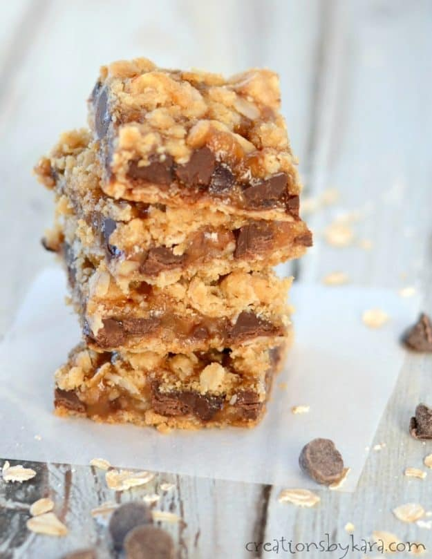 No one can resist these chocolate chip caramel oatmeal bars!