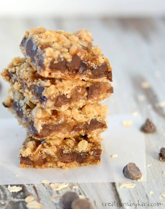 Chocolate and caramel fans will love these ooey gooey bars!