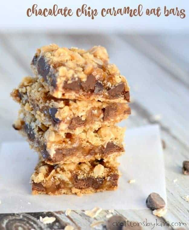 Ooey gooey Chocolate Chip Oatmeal Bars - easy but seriously decadent!