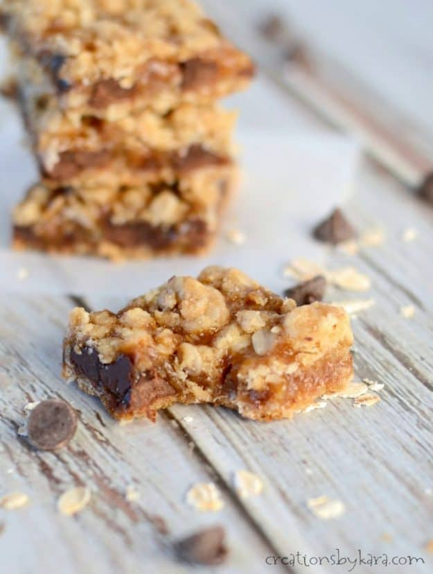 Recipe for chocolate chip oatmeal caramel bars that are out of this world!