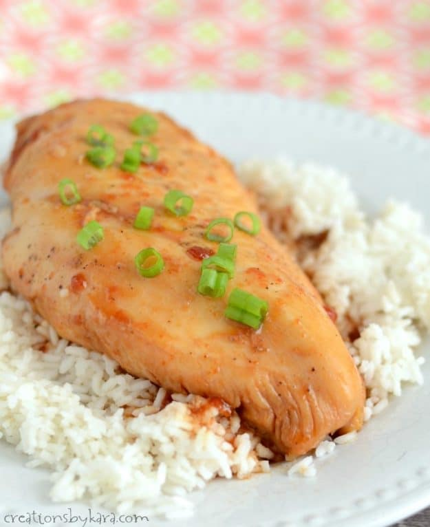 Recipe for sweet and spicy glazed crock pot chicken. A great dinner recipe for busy nights.