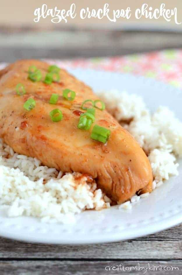 Glazed Crockpot Chicken - serve over rice for an easy, tasty dinner. Sweet and spicy glazed chicken is a perfect family recipe.