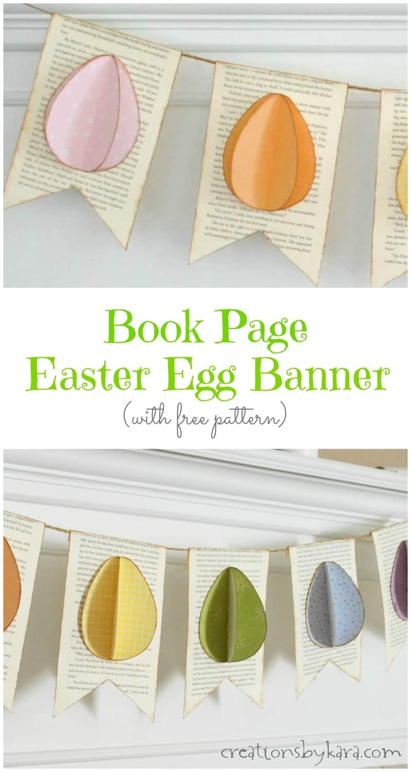 This Book Page Easter Egg Banner is so easy to make, and so cute! One of my favorite Easter decorations! #Easter #Easterdecor #bookpagedecor #spring #tutorial