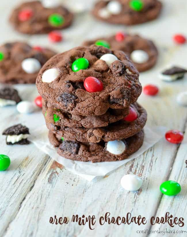 mint oreo chocolate cookies with holiday M&M's